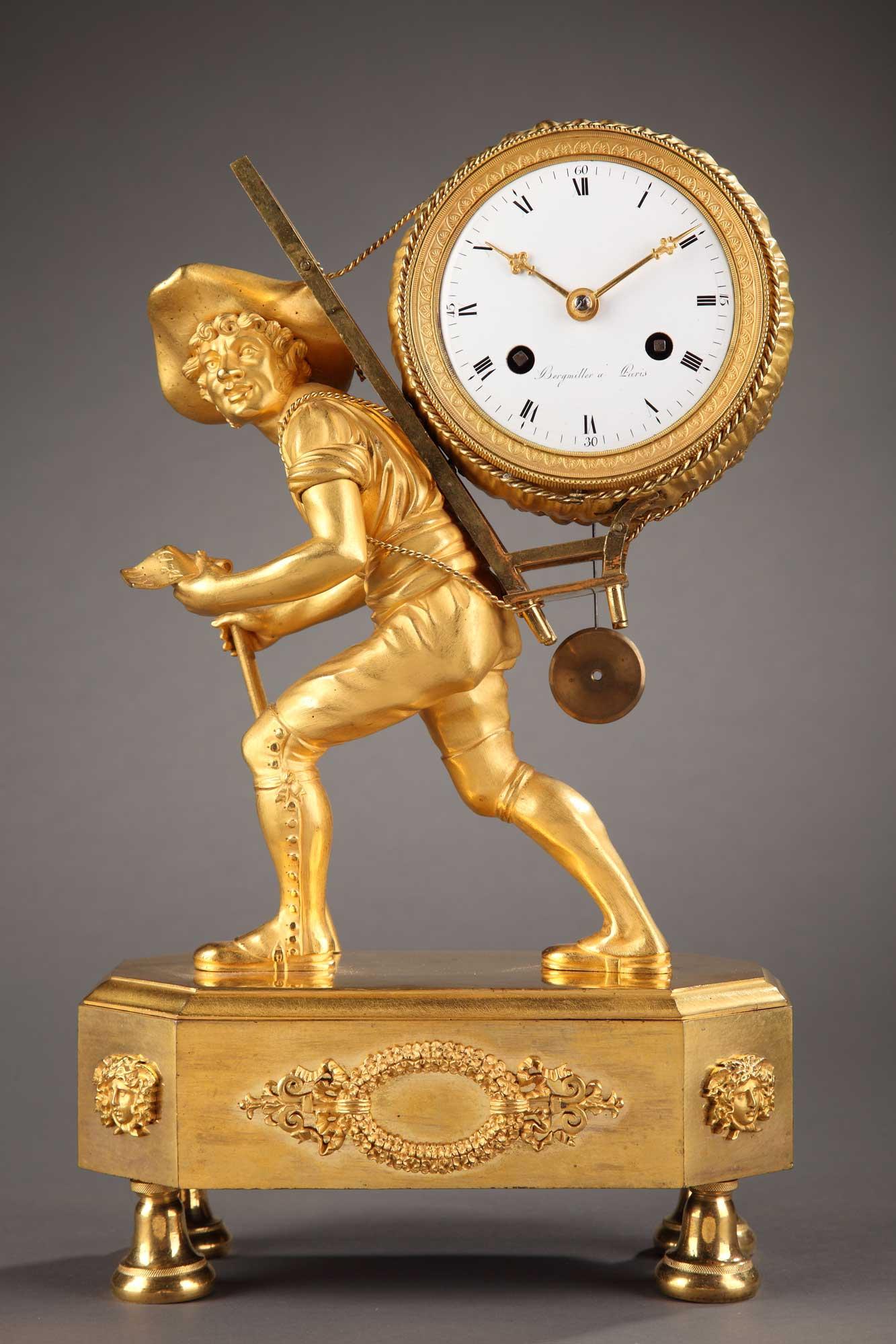 Pendule en bronze doré et ciselé. Epoque Empire Signée Bergmiller à Paris, sur un projet de Reiche et un bronze de Galle.