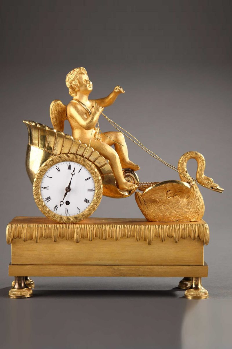 Pendulette-Amour-Cygne-Empire-bronze-antictac